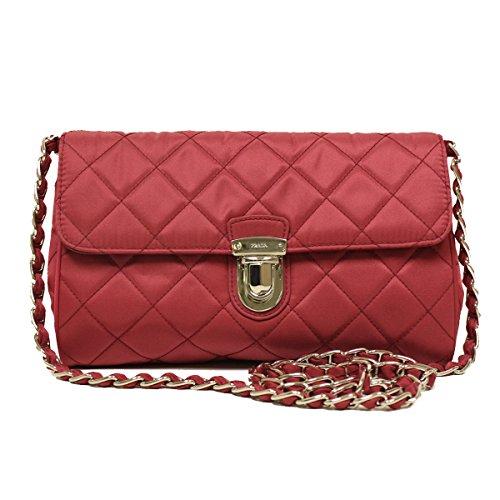 Prada BP0584 Ibisco Pink Tessuto Impuntu Nylon and Leather Pattina Chain Crossbody - Women Prada Watch
