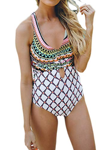 Monokini Pattern - Summer Bay Womens Deep V-neck Cross-Back