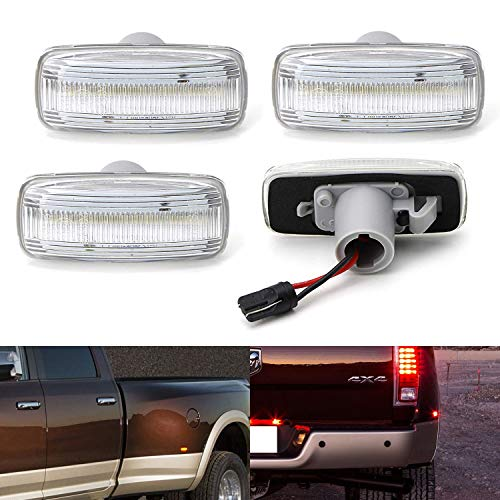 - iJDMTOY Clear Lens Amber/Red Full LED Trunk Bed Marker Lights Set For 2010-18 Dodge RAM 2500HD 3500HD Truck Double Wheel Side Fenders, Powered by Total 48 LED