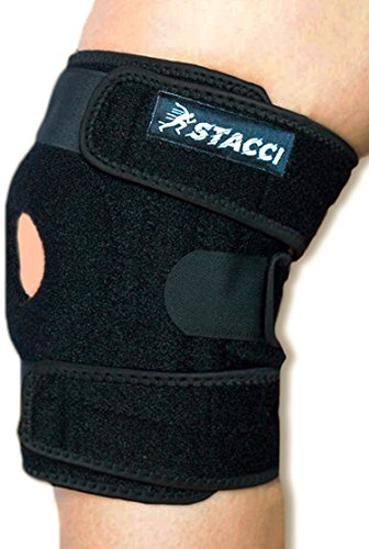 Knee Brace for Sprained Knee/Patella Stabilizer for Dislocated, Injured, Swollen Knee + Compression Promotes Pain Relief, Healing & Recovery. Knee Braces for Women and Men. (Black)