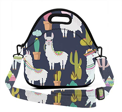 Insulated Lunch Bag For Men, Adult Alpaca Sloth And Catus Lunch Box Waterproof Zipper & Leak-Proof Insulated Interior Cooler Tote Bag With Shouder Strap For Picnic, School