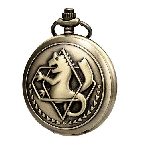 Morfong Bronze Pocket Watch Fullmetal Alchemist Edward Elric Anime with Fob Chain Box - Bronze New Alchemy