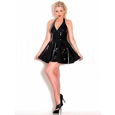 7d6a36df40 ThinkMax Women Female Deep V-neck Halter Latex Plunge Skater Sexy Jumpsuit  Mini Dress