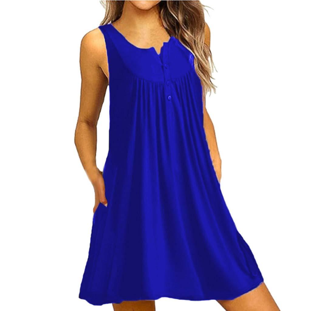 Women Sleeveless Swing Dress| Hopwin Ladies Casual Button O-Neck T-Shirt Loose Simple Short Sundress (XXL, Blue)