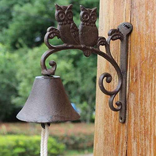風鈴錬鉄ダブルフクロウドアベル米国ヨーロッパレトロハンドベル庭の装飾18.5x10.2x19.5cm鋳鉄ドアベル