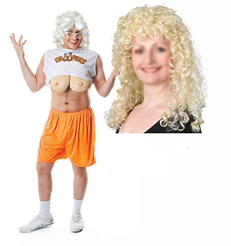 [Party Central Men's Drooper Hooter Stag Fancy Dres Costume With Blonde Wig One Size Fits All White] (Hooters Costume For Men)