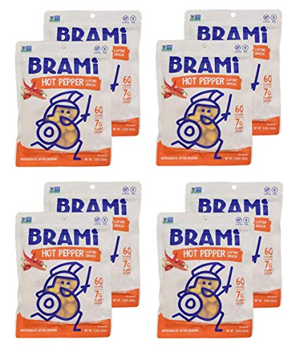 (BRAMI Lupini Bean Snack, Hot Pepper | Plant Protein, Vegan, Gluten-Free, Low Calorie, Zero Net Carb, Keto, Lightly Pickled, Mediterranean Legume | Pack of 8, 5.3 oz (150g))