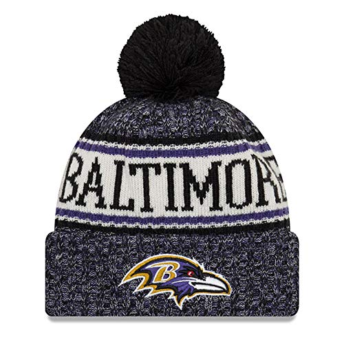 New Beanie Ravens Era Nfl 2019 Knit Sideline Baltimore Bobble 2018 Season 6f6Wgr