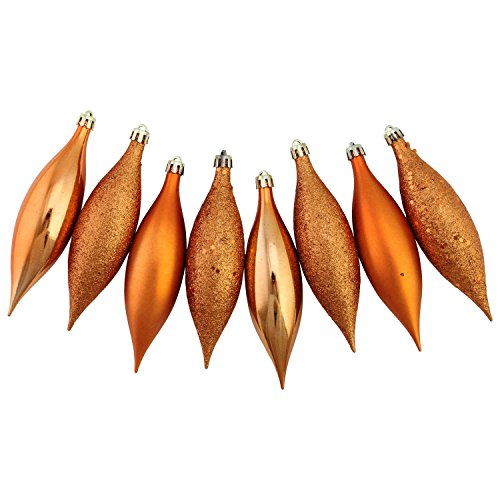 Northlight 8ct Burnt Orange Shatterproof 4-Finish Finial Drop Christmas Ornaments 5.5