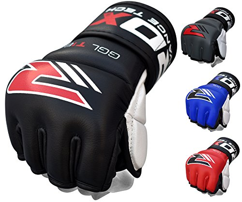 RDX Cow Hide Leather MMA Grappling Gloves Cage Fighting UFC Sparring Glove Training T2