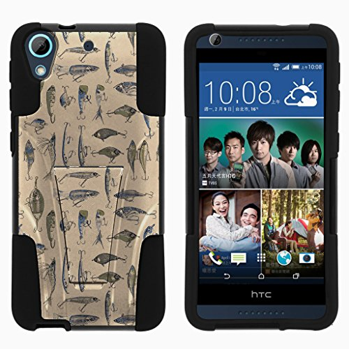 TurtleArmor | Compatible with HTC Desire 626 Case | HTC Desire 626s Case | HTC Desire 650 Case [Gel Max] Hard Shell Soft Silicone Case with Built-in Kickstand - Fishing Hooks (Virgin Mobile Htc Desire 4g)