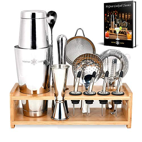 Pro Cocktail Shaker Set by WinterCastle-The 18 piece Ultimate Bartender Kit: Boston Shaker, Jigger, Muddler, Bar Spoon, 3 Strainers, 4 Liquor Pourers with Caps, Tongs, Bamboo Stand, FREE Recipe EBook
