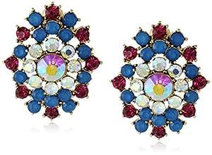 Betsey Johnson Women's The Eyes Have It! Pink Blue Cluster Button Earrings Multi Stud Earrings