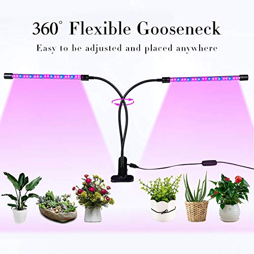 ALJ Plant Grow Light 2.0 USB on Desk, 18W Growing Lamp for Indoor Greenhouse with Timer 3/9/12Hr, 360° Rotation Full Spectrum LED 54 Bulb for Succulent Plants (2-Heads)