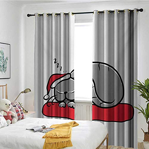 (TRTK Decorative Curtains for Living Room Shading Insulation Cable Ring Screen 2 Panel Christmas,Cat with Santa Claus Hat Whiskers on The Pillow Winter Night Cartoon Artwork,White Red Grey)