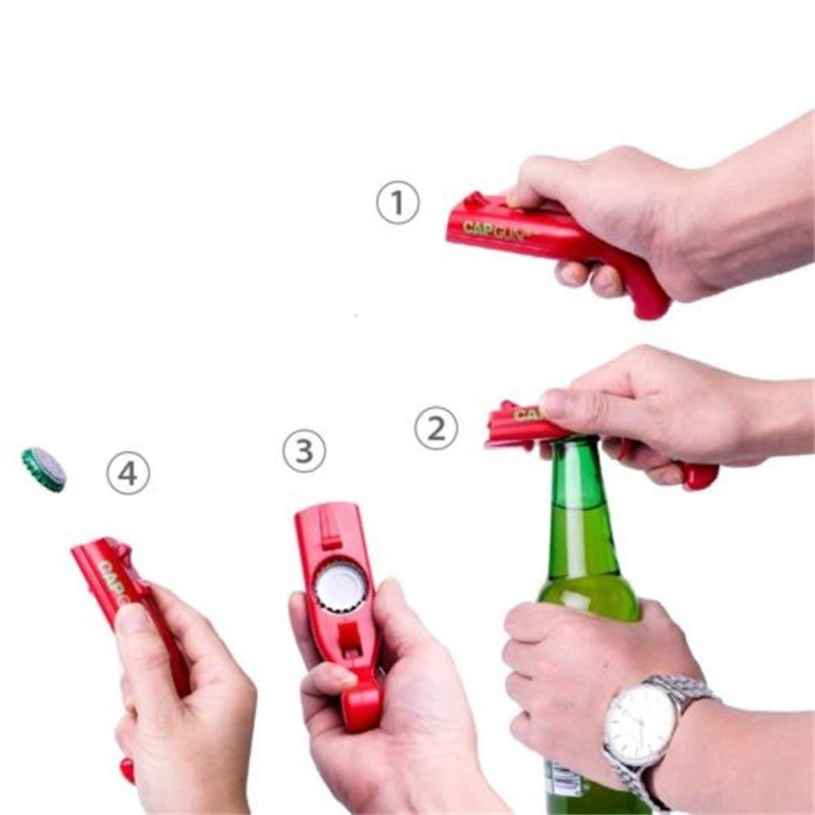 Heaviesk Abridores de latas Gorra de Primavera Lanzador de catapultas Forma de Pistola Herramienta de Barra Apertura Apertura Abridor de Botellas de Cerveza