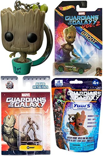 Marvel Guardians of the Galaxy Vol. 2 Groot Hot Wheels Cars Movie Exclusive + Metal Mini Figure & Ship Milano #149 & Pocket Pop! Bobble Head Keychain Collectible + Finger (Black Widow Iron Man 2 Costume)