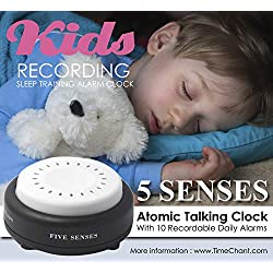 Kids Recording Atomic English Talking Alarm Training Clock. Record Own Message Teach Girls Boys Time to Wake Up. Bedside Clock with Volume Control and 10 Alarms Recording Alarm by 5 Senses 1623-KIDS