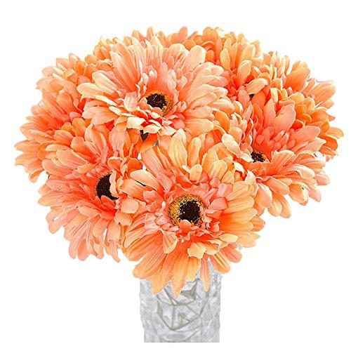 (10 PCS Real Touch Latex Silk Artificial fake plastic Daisy Chrysanthemum Flowers Sun Chrysanthemum,Sunflower, Simulation Gerber, Dimorphotheca,Party Room home Decoration DIY Flower Bouquet (Orange))