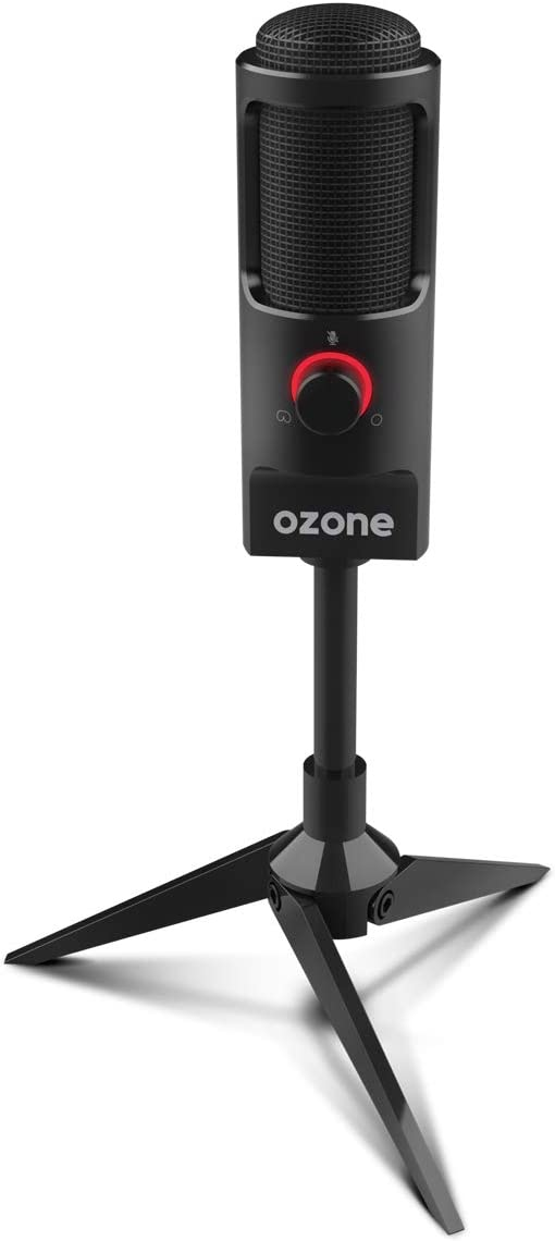 Microfono Gaming Ozone REC X50 - Microfono Streaming - Condensador Electrodo, Sonido Omni-Bidireccional, Iluminación LED, Soporte Estable, USB, Negro