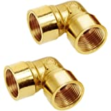"""Joywayus 90-Degree Female Elbow Pipe Fitting Forged Brass 90 Degree Right Angle 1/2"""" Female x 1/2"""" Female (Pack of 2)"""