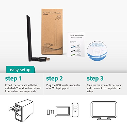 ANEWKODI 1200Mbps USB WiFi Adapter USB Wireless Adapter USB 3 0 Dual Band  2 4GHz/5 8GHz 867Mbps 802 11ac/b/g/n Wireless Adapter for  Desktop/Laptop/PC,