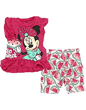 Minnie Mouse Baby Girl's Bike Short Set with Tunic, So Sweet Watermelon