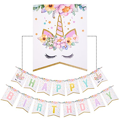 Happy Birthday Bunting Banner Rainbow Unicorn Themed Party Favors Decorations For Cute Fantasy Birthday Party Supplies