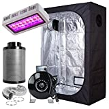 PrimeGarden 36''x20''x63'' Grow Tent+LED 300W Full Spectrum Grow Light+4'' Inline Fan Carbon Filter Ducting Combo Hydroponic Indoor Growing System Complete Package