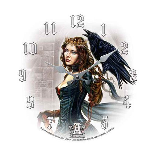 Tarot Queen Raven Crow Fairy Wall Clock By Alchemy Gothic Round Plate 13.5