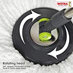 WOTRA Plastic Spin Bucket Mop and Refills, Green/Grey (Bucket Mop and 3 Refills)