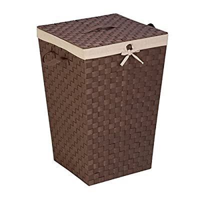 Honey-Can-Do Decorative Woven Hamper with Lid, Java Brown - Double-woven brown laundry hamper with handles for easy transport Includes removable lid with handle Natural linen liner helps to prevent snags on delicate garments - laundry-room, hampers-baskets, entryway-laundry-room - 51GFRqVXyhL. SS400  -