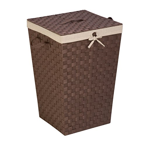 Honey-Can-Do Decorative Woven Hamper with Lid, Java Brown (Hamper With Lined Wicker Lid)