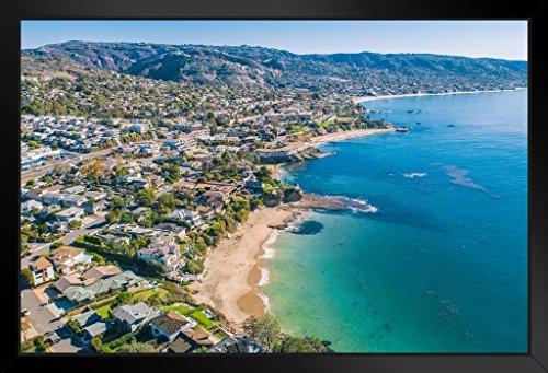 Laguna Beach Orange County Coastline Aerial View Photo Art Print Framed Poster 20x14 inch