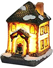 3 Pcs Christmas Village Houses, Resin Christmas Light Up House, Lighted Snow Village Houses with LED Light, Christmas Ornament Home Decoration