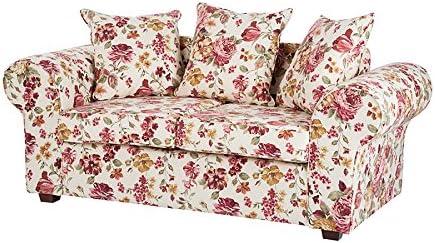 2 Places Einzelsofa Canapes Bella Fleur Rose Beige Revetement En Tissu Style Campagnard Amazon Fr Cuisine Maison