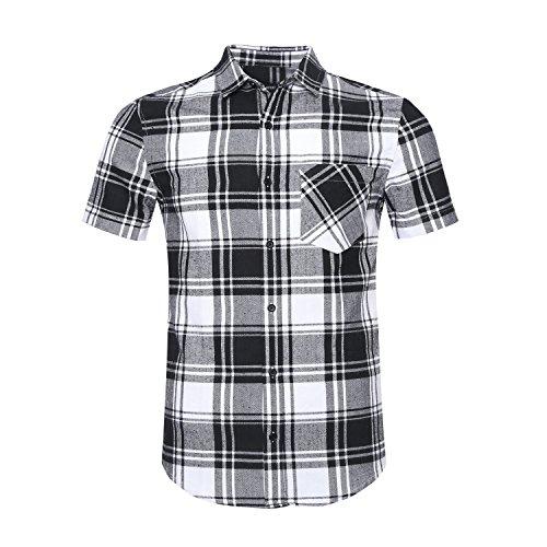 NUTEXROL Men's Western Slim Fit Cotton Short Sleeve Plaid Flannel - Short Sleeve Flannel