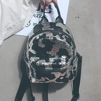 Mini Bolso de Hombro Doble Sello de Verano Femenina de lácteos Elegante y versátil, Mochila pequeña Bolsa de Viaje 20 * 18 * 10CM, Plata: Amazon.es: ...