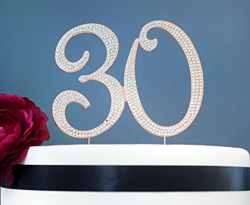 Birthday Cakes Roses - 30 ROSE GOLD Cake Topper | Premium Sparkly Crystal Rhinestones | 30th Anniversary or Birthday Cake Topper Decoration Ideas | Perfect Keepsake (30 Rose Gold)