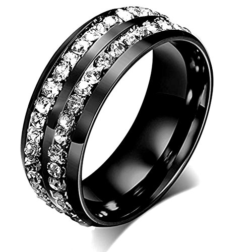 Black Diamond Gold Wedding Rings - Aiyo Nice Titanium Stainless Steel Wedding Bands Plated 18K Gold Double Row CZ Crystal Promise Anniversary Rings (Black, 12)