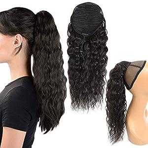 Ponytail Human Hair Extension Corn Wave Ponytail Brazilian Virgin Hair Drawstring Ponytail for Black Women Corn Wave…