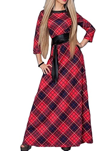 Swing 4 Dress Long Comfy Red Neck Sleeve Womens Belted 3 Crew Tunic Argyle qFxnaBTv