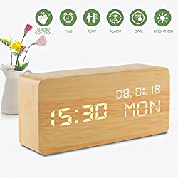 Led Digital Analog Alarm Clocks, Wooden Travel Clock with Time/Date/Week/Temperature/USB Desk Shelf Clocks, Sound Control 3 Levels Brightness 3 Loud Alarm for Heavy Sleepers Bedrooms Kids Girls Teens