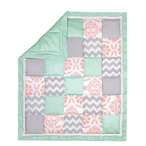 Patch Baby Blanket (Coral Pink, Grey and Mint Patchwork Crib Quilt by The Peanut Shell)