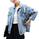 CUTECC Fashion Women Loose BF Style Bead Pearl Jeans Denim Ripped Blue Jacket (M, Light Blue)