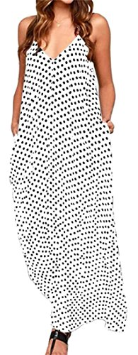 V Loose Pleated Neck Black Womens Deep Sleeveless Dress Maxi Cromoncent Swing Printed ZI0xEUUq