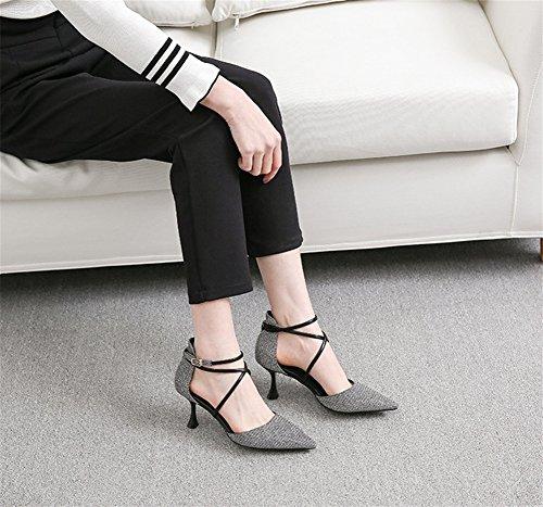 Baotou 34 Vorfrühling Sexy Frauen High Mode Schuhe 38 Sandalen Heels Sommer Einzelne NVXIE Kreuzband nw4zq7HnU