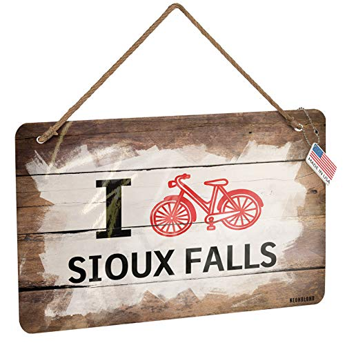 NEONBLOND Metal Sign I Love Cycling City Sioux Falls Christmas Wood Print ()