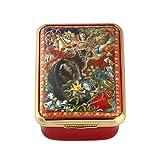 Halcyon Days, Octopussy at Christmas Enamel Box w/Inside Inscription, 24K Gold Fittings, Halcyon Gift Box