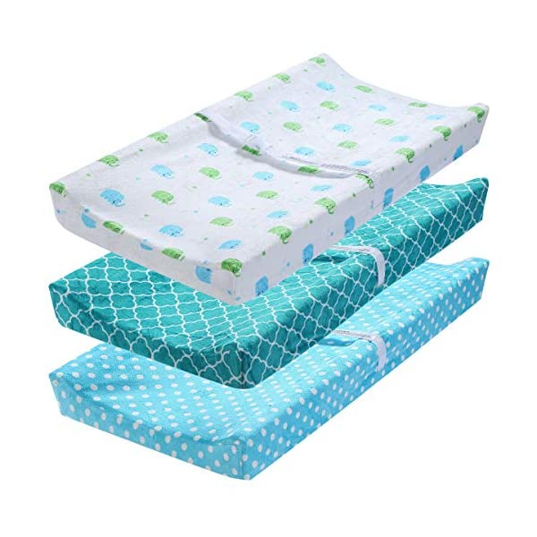 Gia Geometric Quadrofoil Aqua Blue Baby Changing Pad Cover